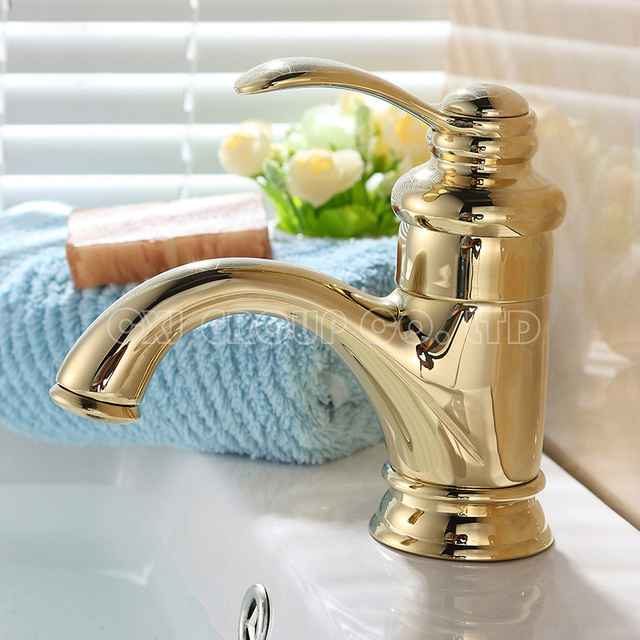 Free Shipping Gold Faucet Water Tap Single Hole Basin Faucet Gold Plated Bathroom Mixer Bathroom