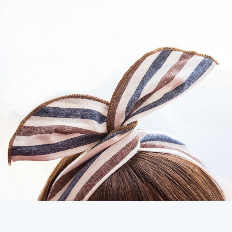 New Bunny Rabbit Ears Striated Wrap Scarf Hairband Headband Wire Bendy Hair Accessories(China (Mainland))