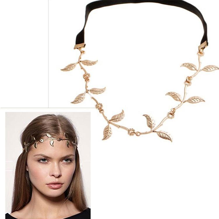 2014 Fashion Hot Sale Tiara Noiva Metal Gold Chain Flower Leaf Hairband For Wedding Bridal Hair Accessory Women Forehead Jewelry(China (Mainland))