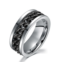 mens chain ring rope inlay ring stainless steel wedding band ring gold/black/steel color punk style ring SS1725(China (Mainland))