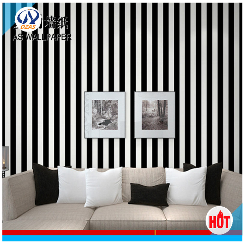 Free shipping modern striped black and white wallpaper for White washable wallpaper