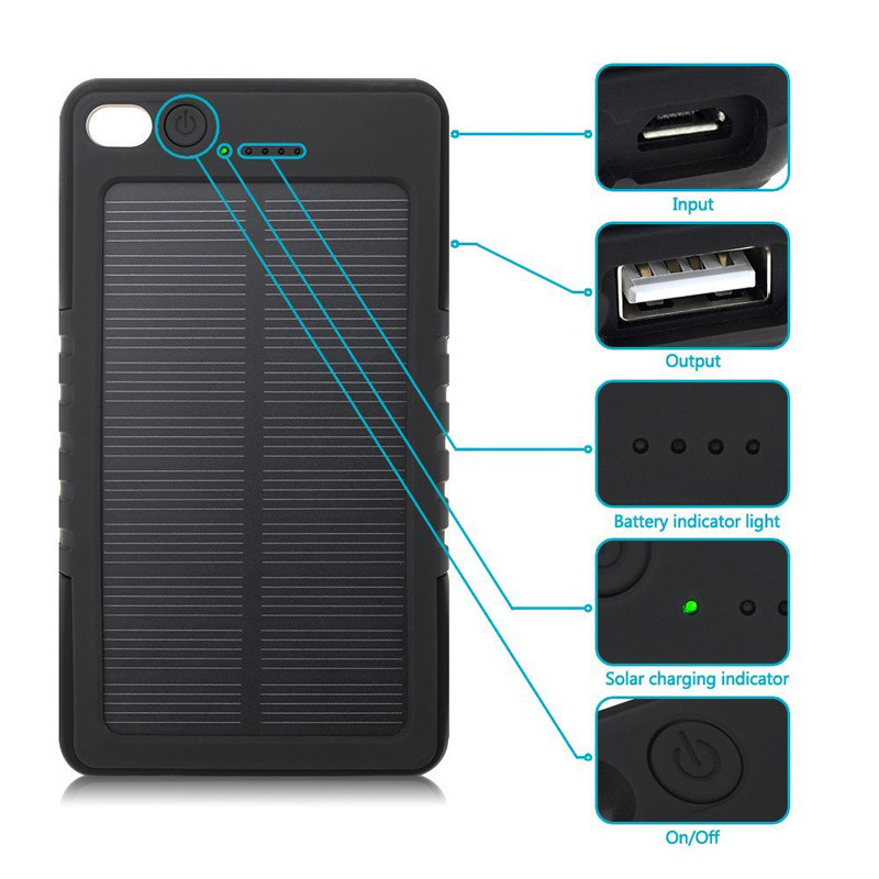 New Waterproof Solar Power Bank 5000mAh Portable Li-Polymer Battery Solar Charger Bateria Externa Pack for Mobile phone