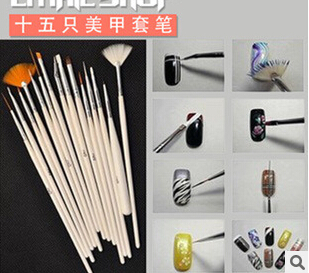 15 pcs/set  Brush Pen phototherapy dotting pen nail art pen manicure tools fingernail coloured drawing or pattern complete set<br><br>Aliexpress