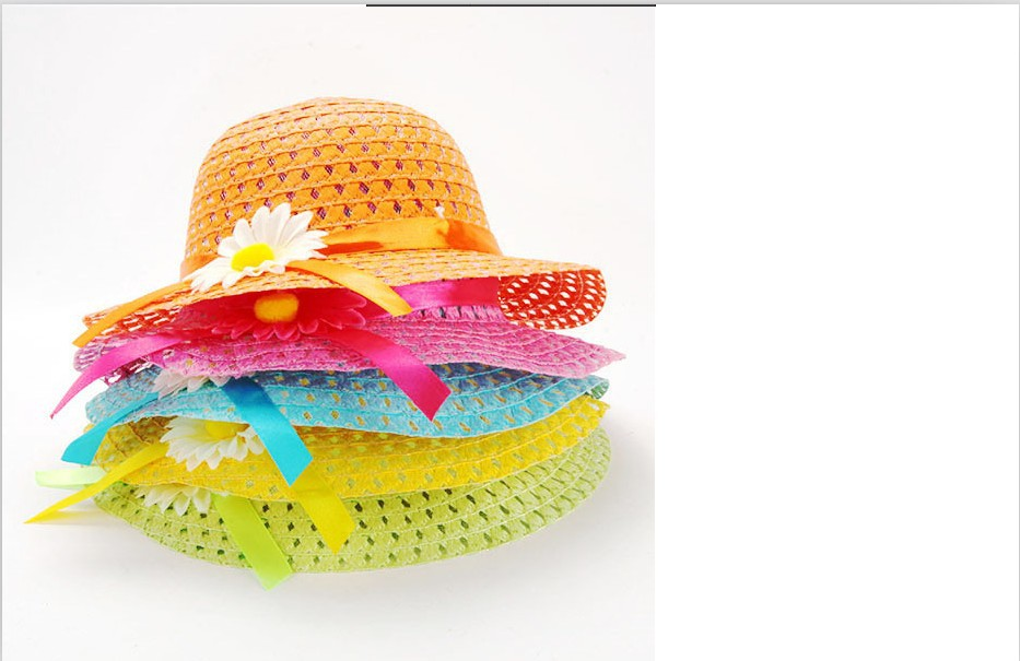 Baby Summer Sun Hat Girls Kids Beach Hats Bags Flower Straw Hat Cap Tote Handbag Bag Suit Free&drop shipping(China (Mainland))