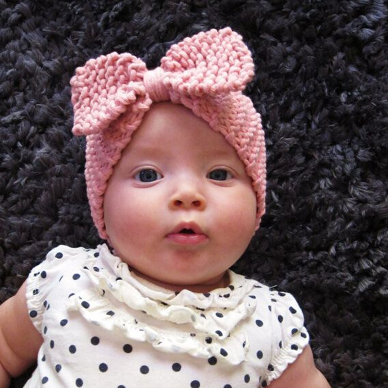 Sweet Baby Turban Ear Warm Headband Crochet Knitted Bow Hairband Head Wrap  Hair Bands Accessories for Baby Girl Infant Toddler 1586829dca8