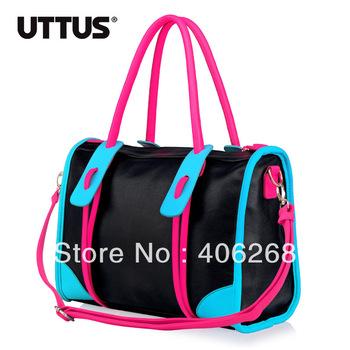 free shipping  fashion neon Color block brief   pu leather ladies' handbag shoulder bag sling bag