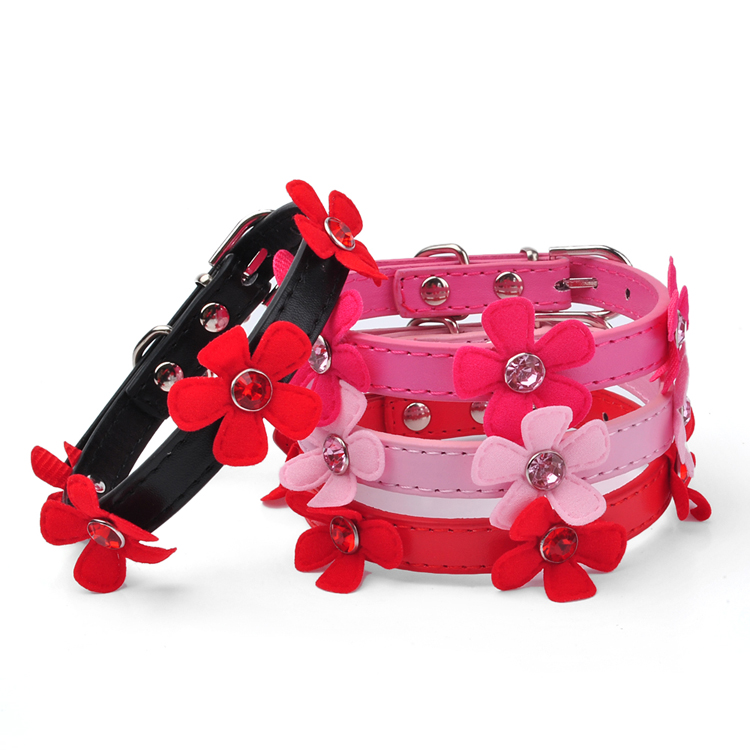 Pu Leather Small Dogs Collar&Leads 5 Flowers Decor Pet Supplies Red/Black/Rose/Pink Pet Necklace for All Seasons Free Shipping(China (Mainland))