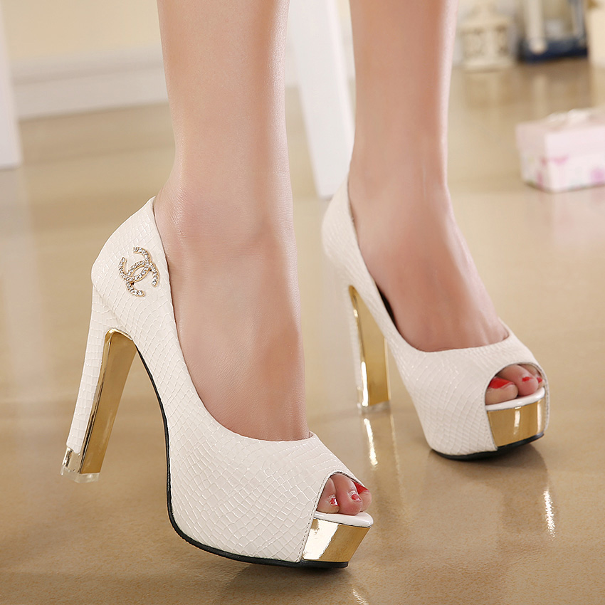 Ultra high heels single shoes female 2015 spring metal decoration high-heeled platform thick heel open toe - Love beauty foot store