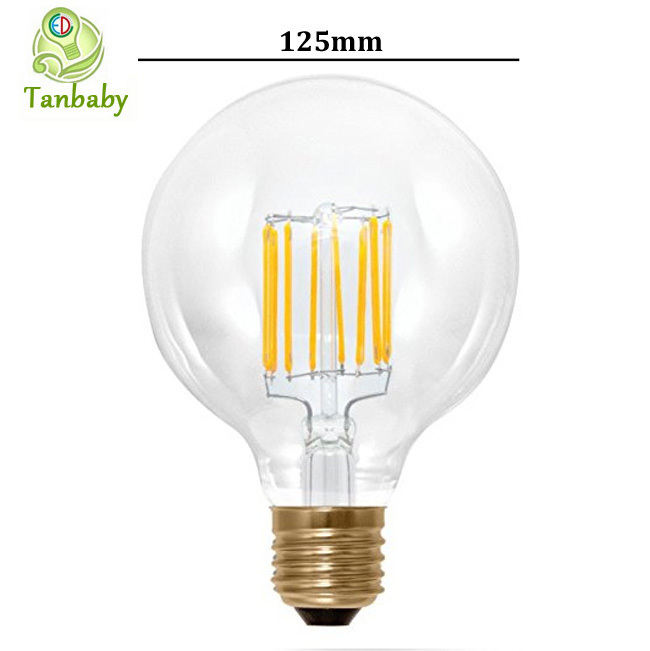 Tanbaby 4pcs 8W led filament bulb E27 125mm global bubble bulb lamp warm white lighting lamps AC220V 360degree household lamp <br><br>Aliexpress