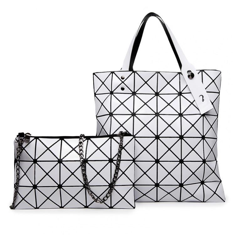 Women Fashion BAOBAO Bag Issey Miyake Two Sets Geometry Package Sequins Mirror Saser Plain Folding Handbags Women Shoulder Bags(China (Mainland))