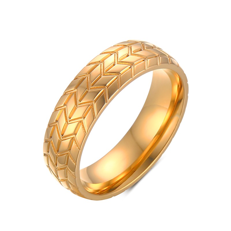 6MM Men's Tire Tread Wedding Ring in TitaniumSteel Gold Plate Male Unique Engagement Band Motorbike Jewelry Anel for Car Lovers(China (Mainland))
