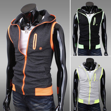 Hot Sale Mens Coat Men's Hooded Vest Plus Size Man Jacket Patchwork Casual Outdoor Waistcoat High Quality Wholesale(China (Mainland))