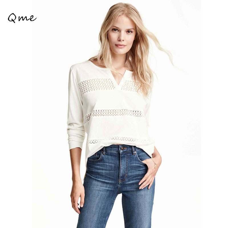 Buy women t shirt white lace tops v neck for Best white t shirt women s v neck