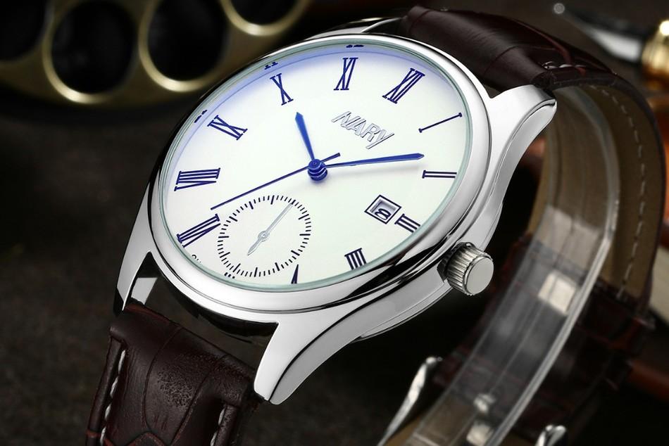 NARY relogio masculino часы мужчины кварцевые часы роскошный Бизнес Случайный мужские часы relogio masculino montre homme бесплатная доставка