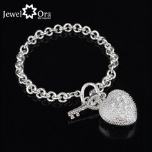 Fashion Heart  Accessories 20cm Silver Bracelets & Bangles For Women New 2015 (Jewelora BA101228)(China (Mainland))