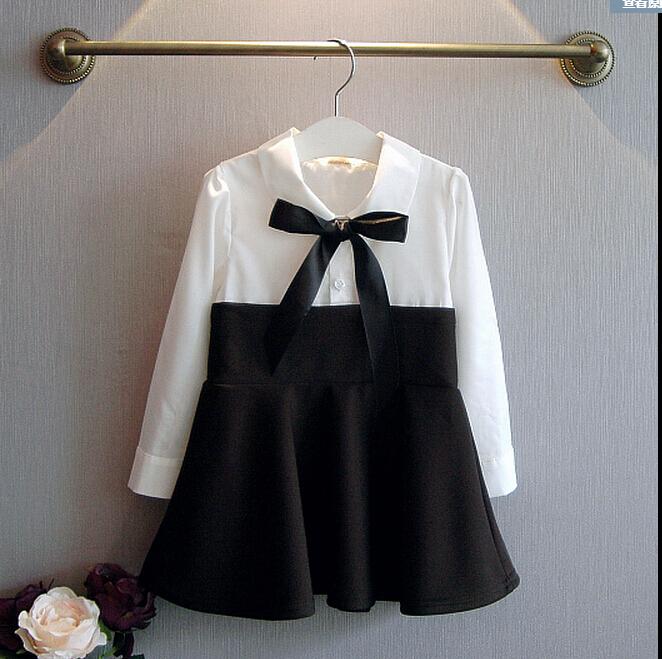2015 autumn new girls ladies wind stitching long-sleeved dress shirt bow dress(China (Mainland))