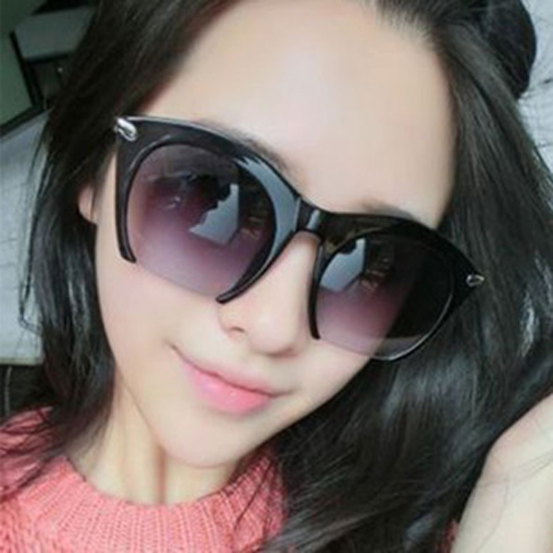 2015 New Brand Half Rim Sunglasses Cat Eye Sun Shades Lenses Half Frame Goggles Women Semi