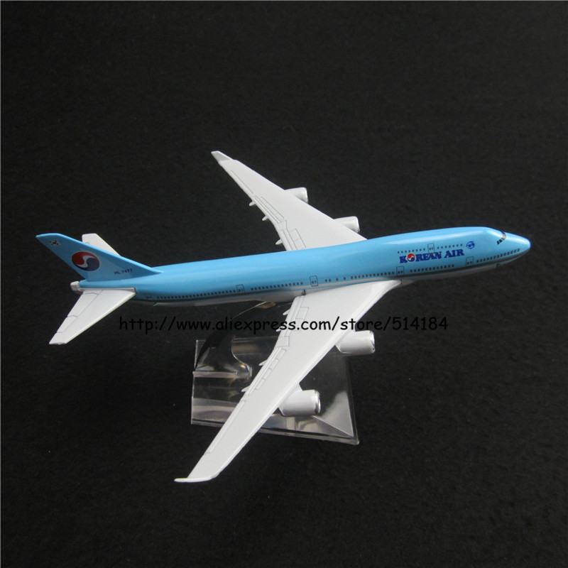 16cm Alloy Metal Korean Air Airlines Boeing 747 B747 400 Airways Plane Model Aircraft Airplane Model w Stand Aircraft Toy Gift(China (Mainland))