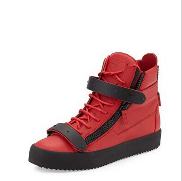 high quality red leather for guiseppe side zip men women sneakers zanotty trainers shoes with box dust bag(China (Mainland))