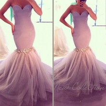 Buy Romantic Lilac Tulle Mermaid Wedding Dresses Sirena 2017 Sweetheart Shoulder Sleeveless Beading Fish Tail Bridal Dress for $127.10 in AliExpress store