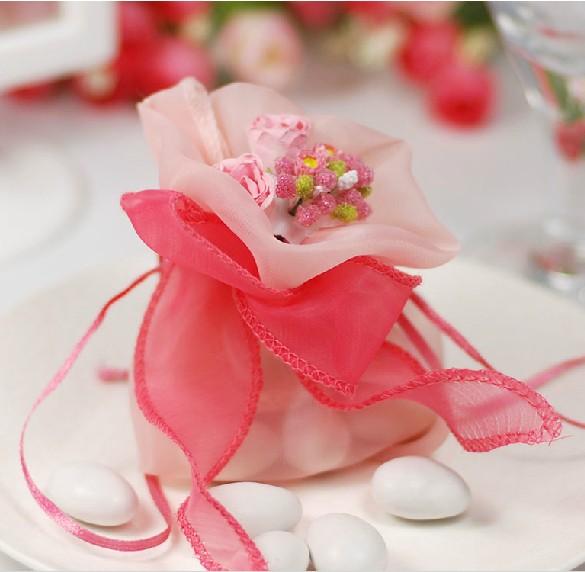 Elegant Organza Wedding Candy Pouch Artificial Flower,Gift Bag,Wedding Favors--Light Pink - Minling Favors store