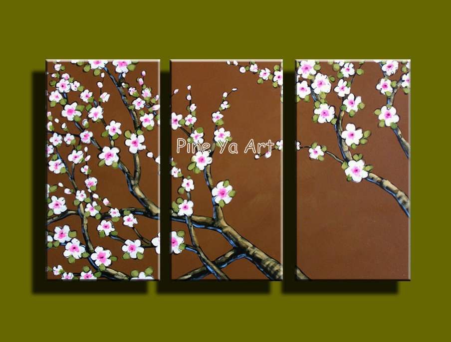 3 piece canvas wall art abstract handmade acrylic cherry for Cherry blossom canvas painting