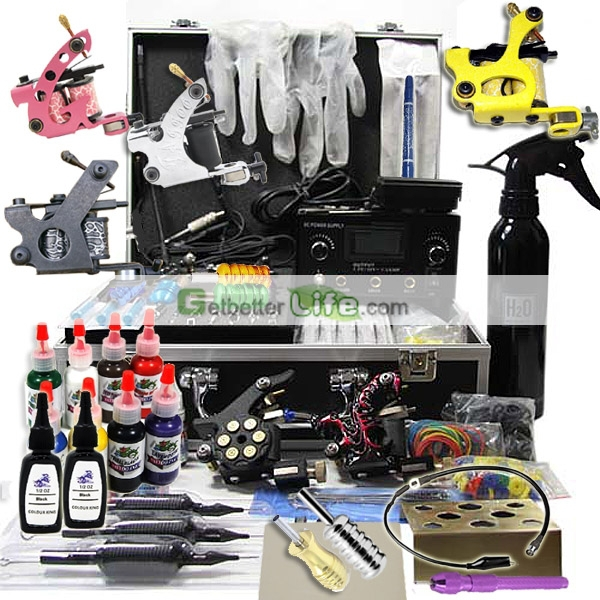 Professional tattoo Machine kit with Dual LCD Power 6 tattoo Guns/Grips/Needles free shipping<br>
