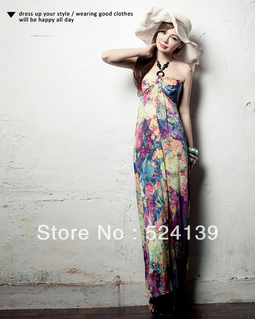 2013 New Bohemian Sexy  Beach Dress Ankle-Length Sleeve Off the shoulder Dress Fashion Free Shipping Y11