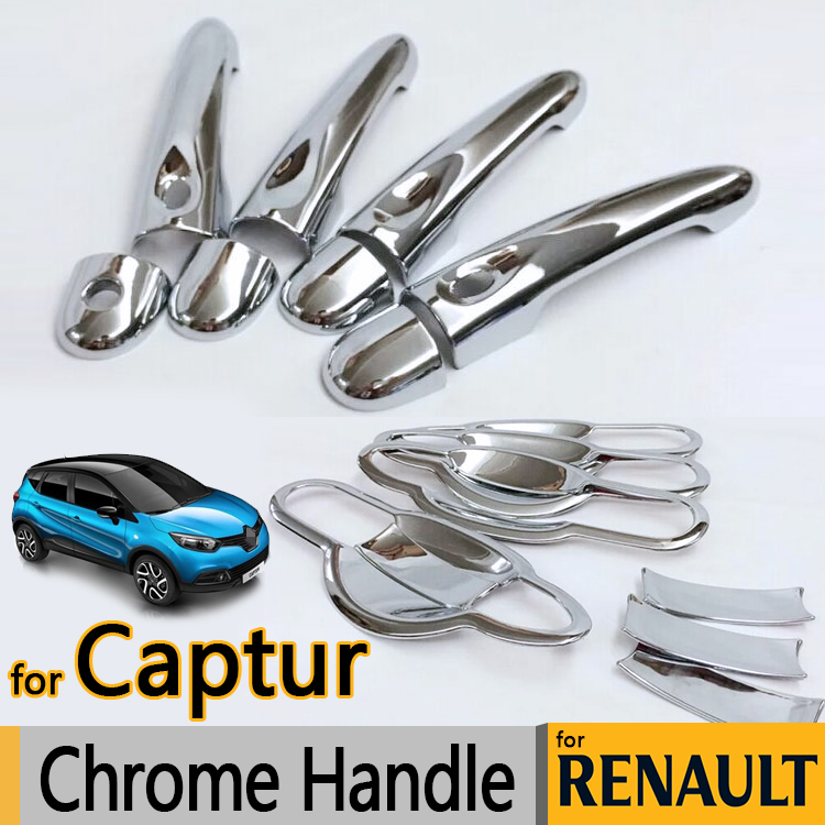 for renault captur luxurious chrome door handle covers accessories stickers car styling 2013. Black Bedroom Furniture Sets. Home Design Ideas