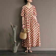Johnature V-צוואר גל נקודה חצי שרוול חלוק שמלות נשים 2019 קיץ גבוה מותן Loose Sashes קרסול-אורך ארוך שמלות(China)
