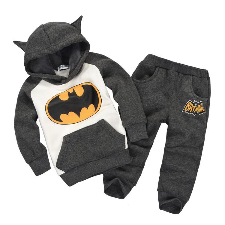 Fashion Cartoon Batman Kids Clothes Sets Retail 2014 Fall&Winter Fleece Leisure Girls Boys Sweatshirt&Pants Baby Children Hoody - junhao Co. Ltd store