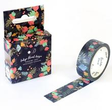 New Arrival Blooming Dark Flowers Decorative Washi Tape DIY Scrapbooking Masking Tape School Office Supply Escolar Papelaria(China (Mainland))