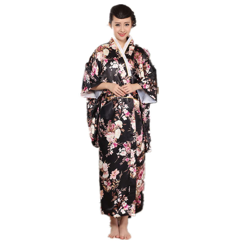 Elegant-Floral-Satin-Silk-Traditional-Kimono-Dress ...
