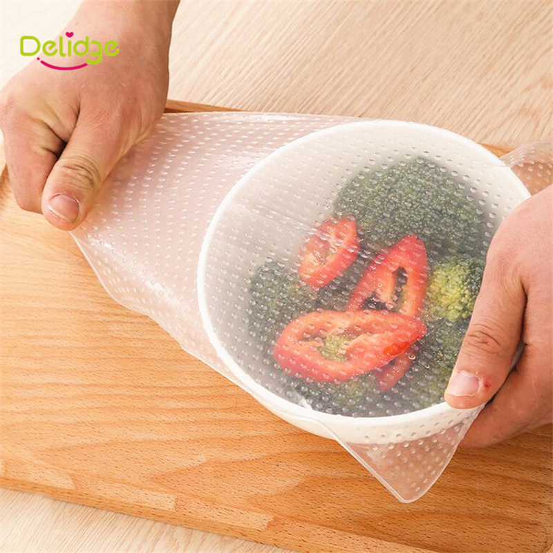4 pcs/set Food Cling Film Multifunctional Silicone Wraps Seal Cover Stretch Cling Film Fresh Keeping Saran Vacuum Lid Stretch(China (Mainland))