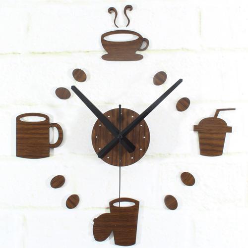 Creative Retro Wood Fashion Tableware Coffee Cup Hanging Watch Casual Bar Restaurant DIY Wall Clock(China (Mainland))