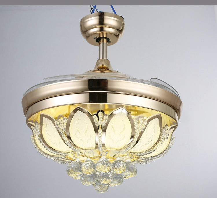 Online Cheap Wholesale Invisible Crystal Ceiling Fan Light