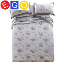 100% bamboo fiber soft 3pcs bedding sets contains 2 pillow cases and 1 bed sheet with chinese panda and flower style(China (Mainland))