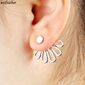 Trendy Gold Color Hollow Out lotus Leaf Stud Earrings Ear Cuff Clip For Women Jacket Piercing