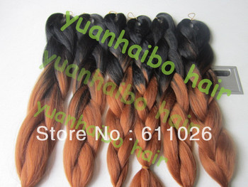 "STOCK! Top quality 20"" ombre color #1BT#30 100% kanekalon super jumbo braid hair wholesale price fast&free shipping"
