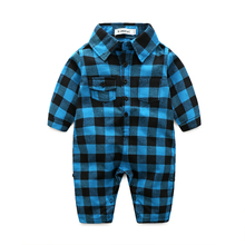 Плед детская одежда с длинным рукавом лацкан ребенка ползунки новорожденного младенца хлопка костюм мальчиков одежда для новорожденных(China (Mainland))