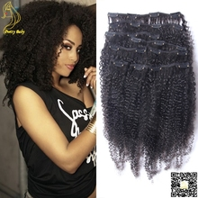 Afro Kinky Curly Clip In Hair Extensions Virgin Brazilian Clip In Human Hair Extensions 7pcs or 9pcs Kinky Curly Clip Ins(China (Mainland))