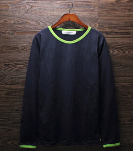 Men's clothing han edition cotton long sleeve T-shirt tidal autumn outfit man joker pure color - weiilyu johns's store