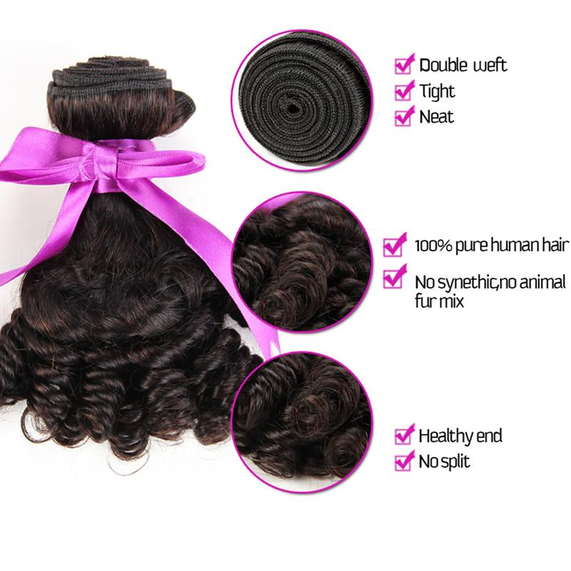 Fumi Hair 1pcs/lot 8inch-30inch Free Shipping Fummi Hair Cheap Peruvian Virgin Human Weave 7A Grade aunty fummi bouncy curls