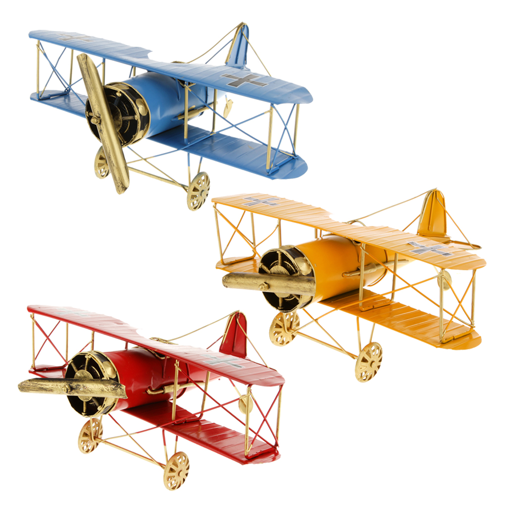 Educational Creative Vintage Metal Airplane Model Biplane Military Aircraft Home Christmas Decoration Toy Red Children Kid Toys(China (Mainland))