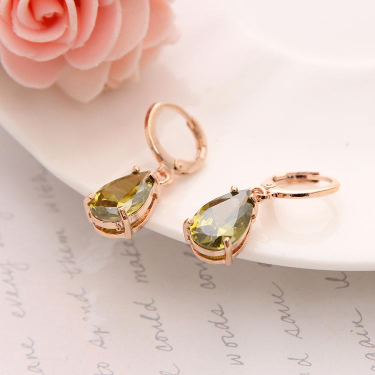 New Fashion gold Plated Women Earrings Water Drop Earrings Amber Austrian Crystal Long Earrings for Wedding(China (Mainland))