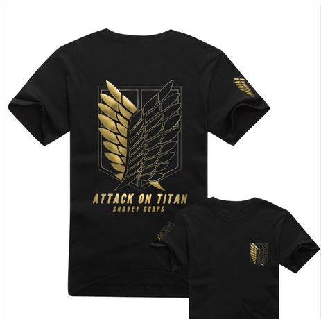 Cosplay Costume Gold Edition Attack on Titan(Shingeki no Kyojin)Scouting Legion Survey Legion Freedom Wings T-shirt 100%(China (Mainland))