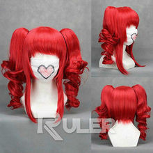 Wholesale& heat resistant LY free shipping>>>VOCALOID-teto Red Anime Cosplay Party Wig HAIR+2Clip On Ponytail