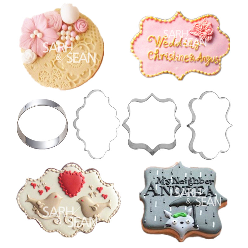 4pcs/set European Blessing Wishes Wedding Frame Metal Cookie Cutters Biscuits Stainless Steel Tools Kitchen Baking Mould(China (Mainland))