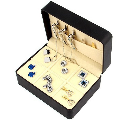 Free shipping brand new big Cufflinks Gift Box 6 pairs holder cufflinks tie clip set package 146mm*106mm*60mm PU coated(China (Mainland))