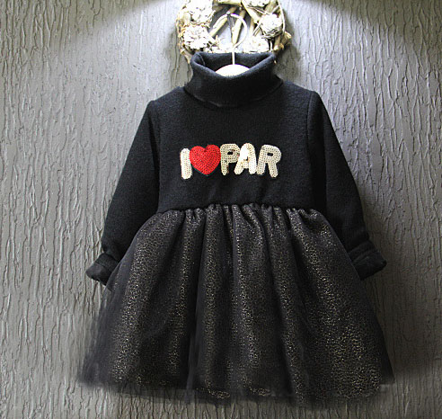 wholesale (5pcs/lot)- 2015 Winter westernsequined yarn knitting stitching letters beep flash elestic waist dress for child girl<br><br>Aliexpress